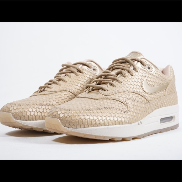 wholesale dealer 09279 e7461 Nike Air Max 1 Premium Gold Sneakers NWOB. M 5acafed03800c5a7a1077501